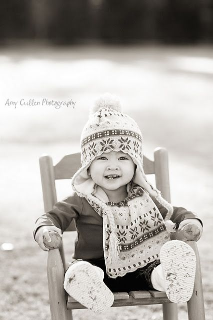 I love this photo of a baby in his rocking chair