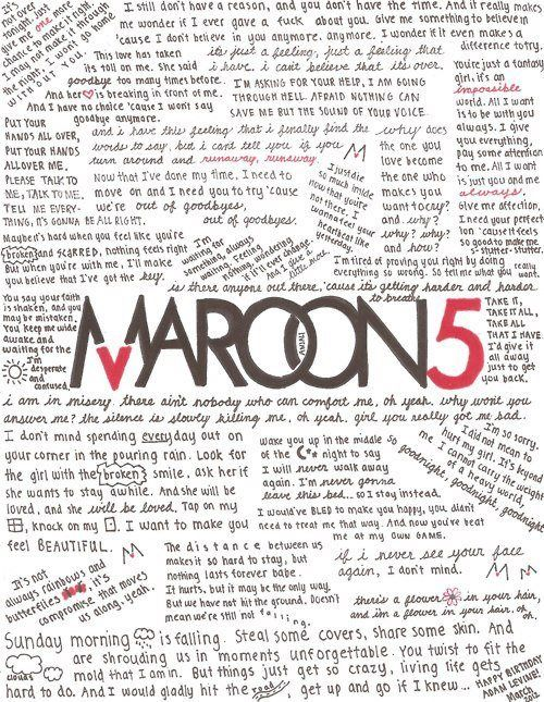 Maroon 5 Lyrics. Love them!
