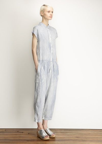 Black Crane Jumpsuit (Light Blue Stripe)