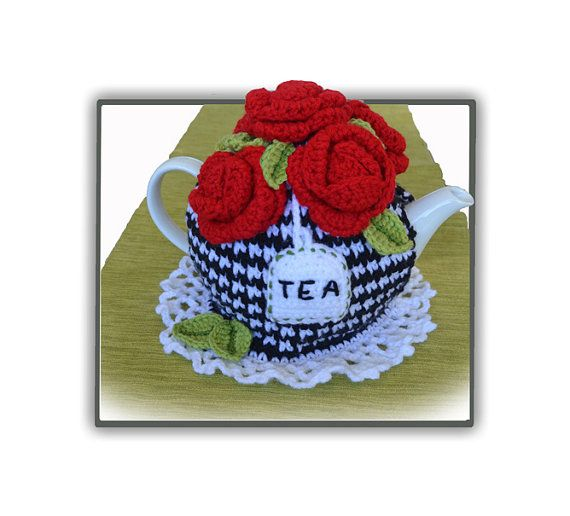 Five Red Roses Tea Cosy by TeaBeeCosy on Etsy