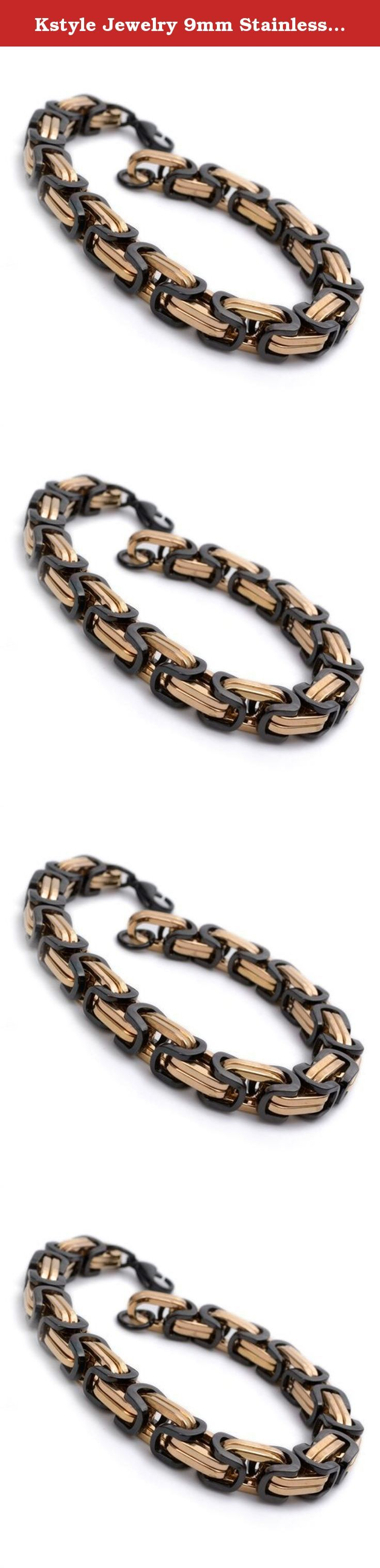 "Kstyle Jewelry 9mm Stainless Steel Rose Gold & Black Cool Mens Bracelet 9.1"" B780. Metal: stainless-steel. L: 9"" W: 9mm. 30 Days Money Back Guaranteed. Come With Gift Bag."