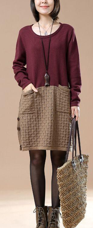 New pattern knit burgundy sweaters oversize dresses