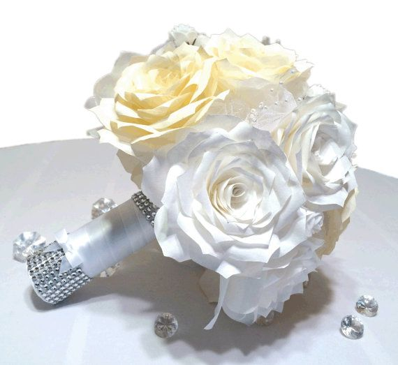 White and ivory bridal bouquet Paper bouquet Custom by CENTERTWINE