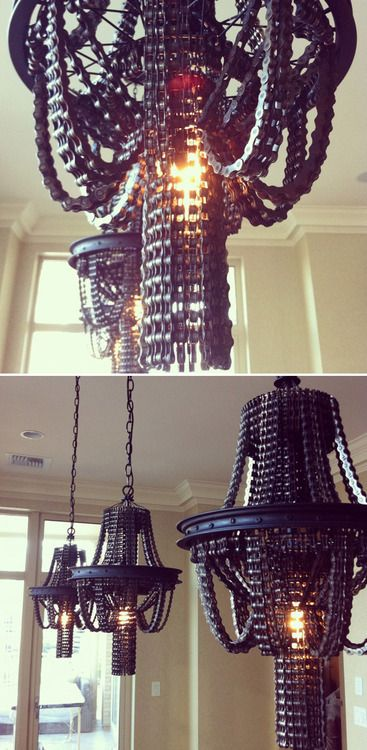 Bike chain chandeliers - cool! Would need a large room though :)