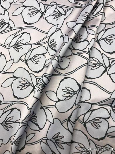 Органза (н) розово-черный цветочный орнамент - интернет магазин тканей Тессутидея
