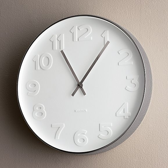 embossed numbers wall clock in clocks crate and barrel office decor board pinterest wall. Black Bedroom Furniture Sets. Home Design Ideas