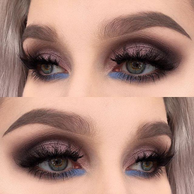 blue bottom lashline, taupe dark eyes