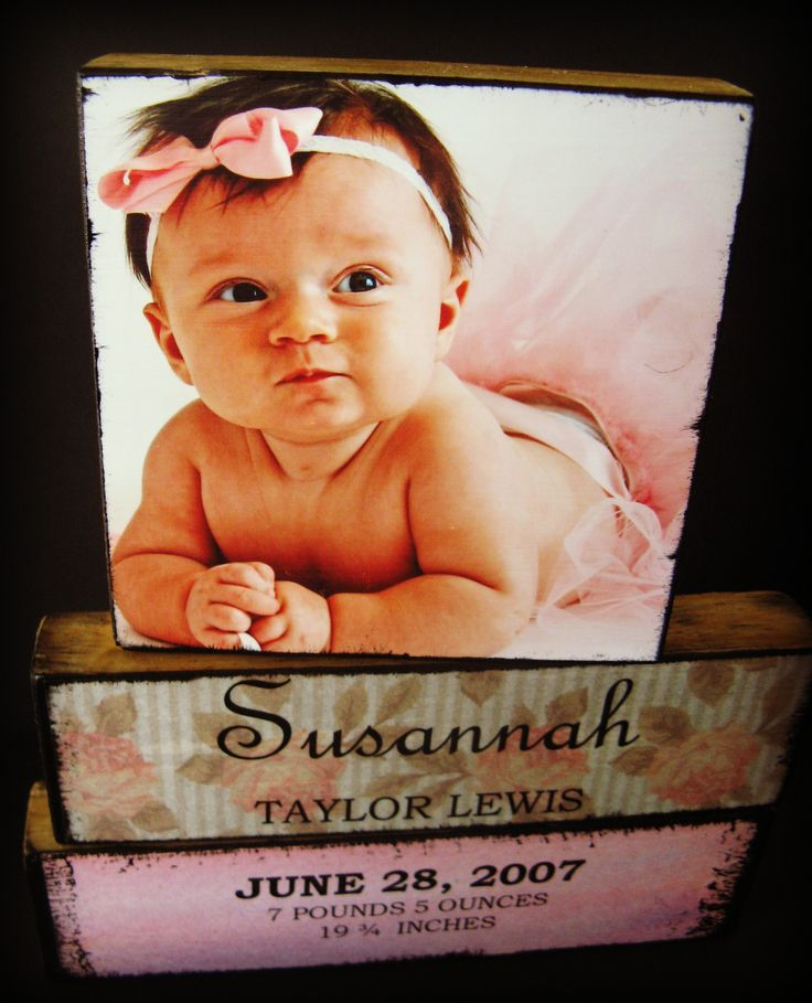 Blocks with baby stats: Diy Photo, Photo Blocks, Baby Gifts, Cute Ideas, June 2012, Wood Blocks, Baby Pictures, Photo Baby, Baby Photo
