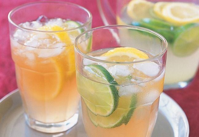 There is about 10 teaspoons of sugar in a bottle of pre-made Lemon, Lime and Bitters but you can make your own which is much better for you!