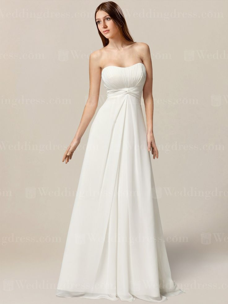 Simple wedding dress for beach weddings features a strapless neckline.