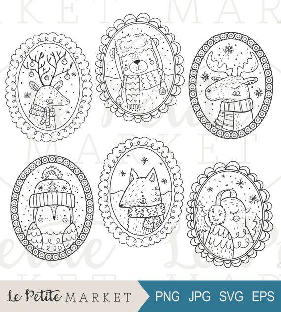 Hand gezeichnet Winter Tier Porträts, Urlaub Waldtiere ClipArt Illustrationen, Winter Wald Kreaturen, süße handgezeichnete Portraits
