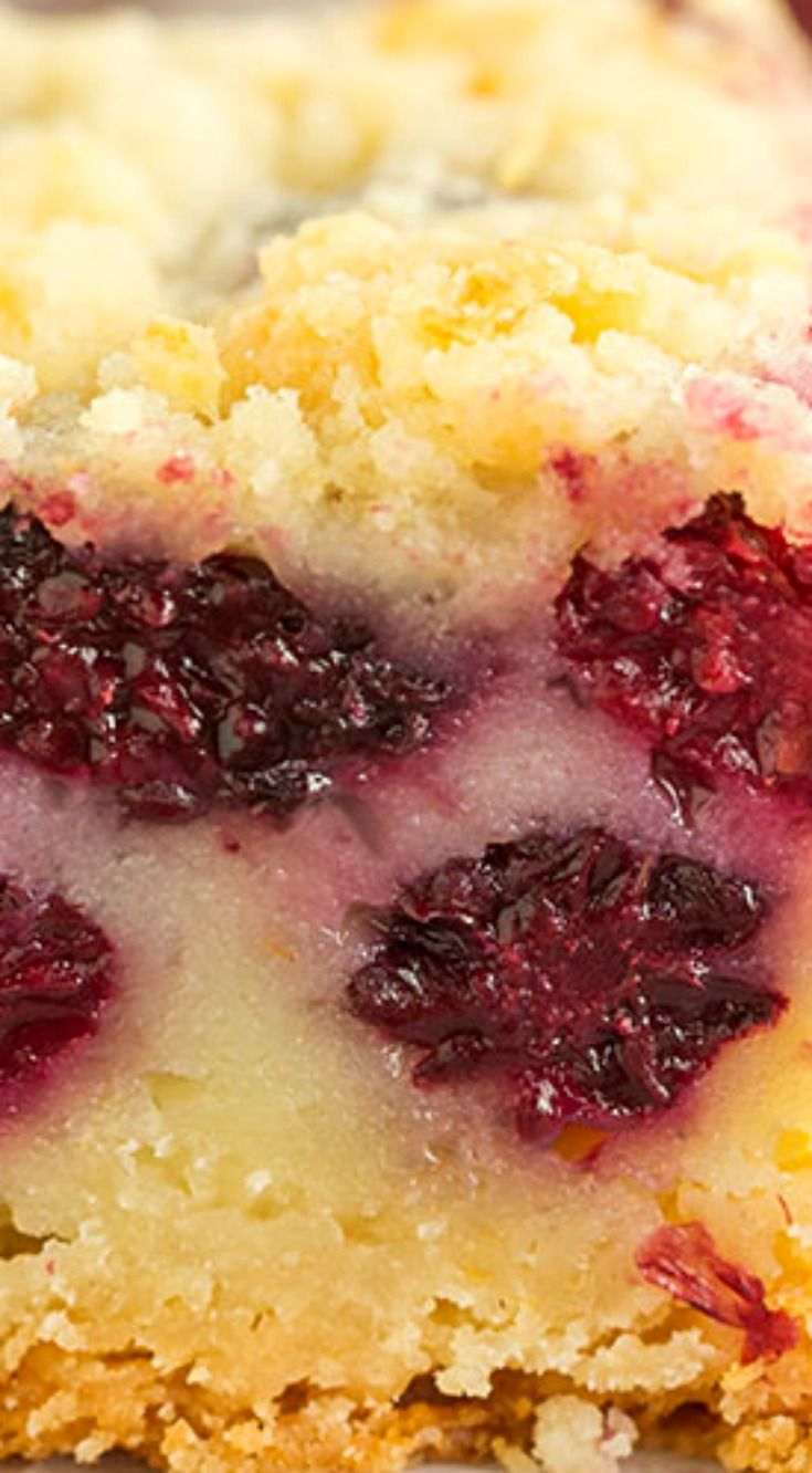 Blackberry Pie Bars ~ A shortbread crust, a creamy, custard-like blackberry pie filling, and a crumb topping... A delicious alternative to blackberry pie!