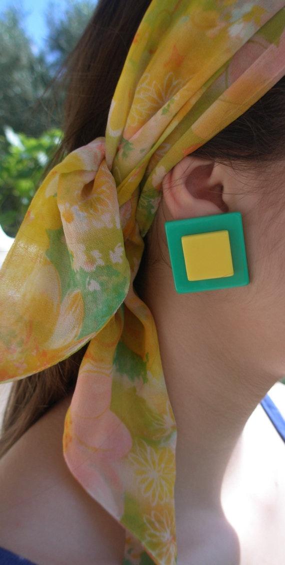 80sYellow and Green plastic earrings pierced by GirlyStuffByDeJaVu, $7.75