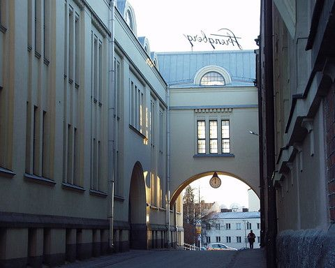 Alholmsgatan between tobacco factory's old and new part. Pietarsaari, Ostrobothnia province of Western Finland.- Pohjanmaa - Österbotten