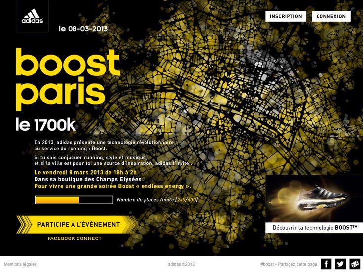 Le site de l'événement ADIDAS BOOST PARIS (DA/Dev by 76) (Thx Ubi) www.adidas.fr/boostparis