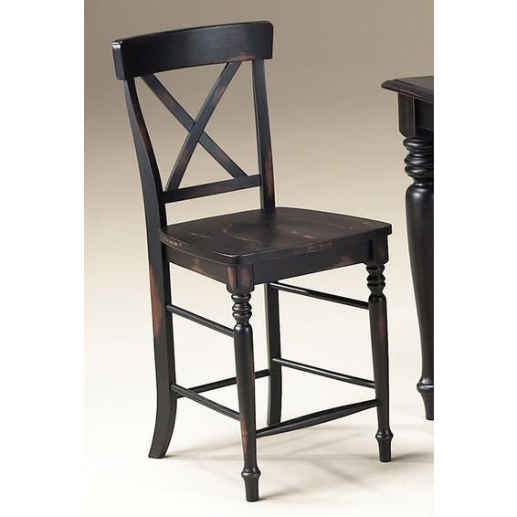 Roanoke Black Hand Rubbed 24-inch X-Back Barstool (Set of 2) | Overstock.com Shopping - The Best Deals on Bar Stools