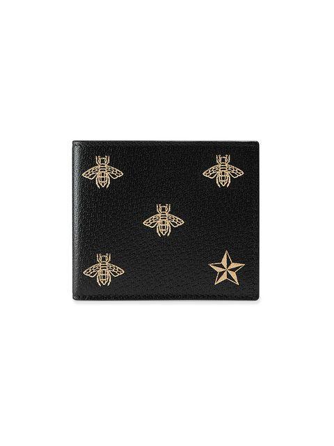 e67b4e7e7b48 GUCCI Bee Star leather bi-fold wallet. #gucci # | Gucci Men ...