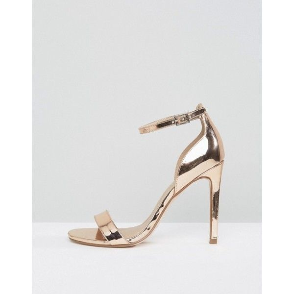 ASOS HANG TIME Barely There Heeled Sandals (€36) via Polyvore featuring shoes, sandals, ankle wrap sandals, high heel sandals, metallic heeled sandals, strappy high heel sandals y ankle strap heel sandals
