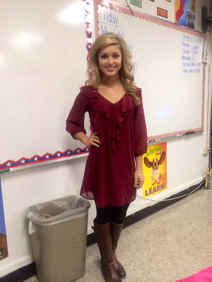 preppy ootd; boots, maroon ruffle dress, black tights. school outfit.