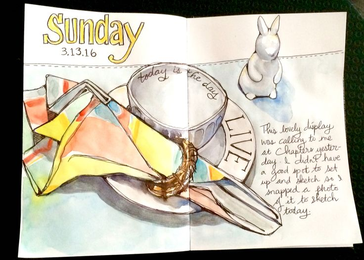 Sketch book watercolor illustration of a charming Easter place setting complete with a little bunny rabbit figurine