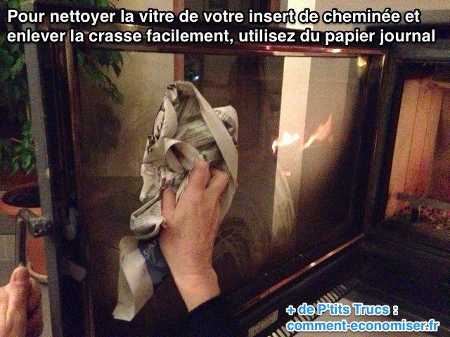 La vitre de l'insert de votre cheminée est tout encrassée ? C'est vrai qu'au bout d'un moment, elle devient toute noire. Voici une astuce pour la nettoyer facilement. Ici pas besoin d'acheter un produit nettoyant spécial à presque 8 €. Tout ce dont vous avez besoin, c'est de papier journal :-)  Découvrez l'astuce ici : http://www.comment-economiser.fr/nettoyer-vitre-insert-cheminee-.html?utm_content=buffer26861&utm_medium=social&utm_source=pinterest.com&utm_campaign=buffer