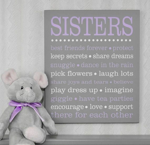 SISTERS Sibling Gifts Baby Girl Nursery Twin Girl Nursery