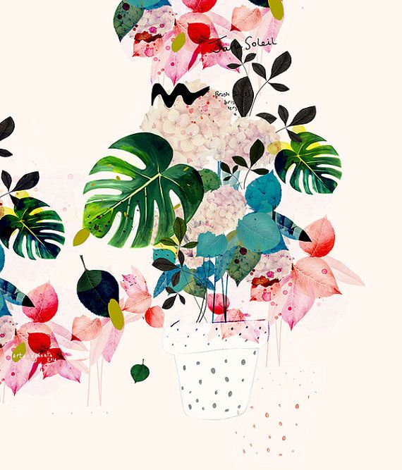 botanical print, watercolor botanical, flower art, green red pink flowers…