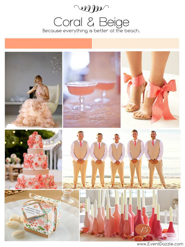 Coral and Champagne Wedding Inspiration | Personalized Wedding Favors & Decorations at EventDazzle