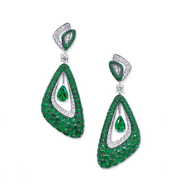 Graff Luna emerald earrings
