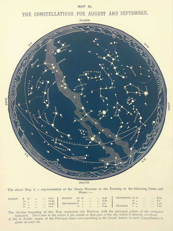 1880s Antique Astronomy Print Blue Black Star Chart Of