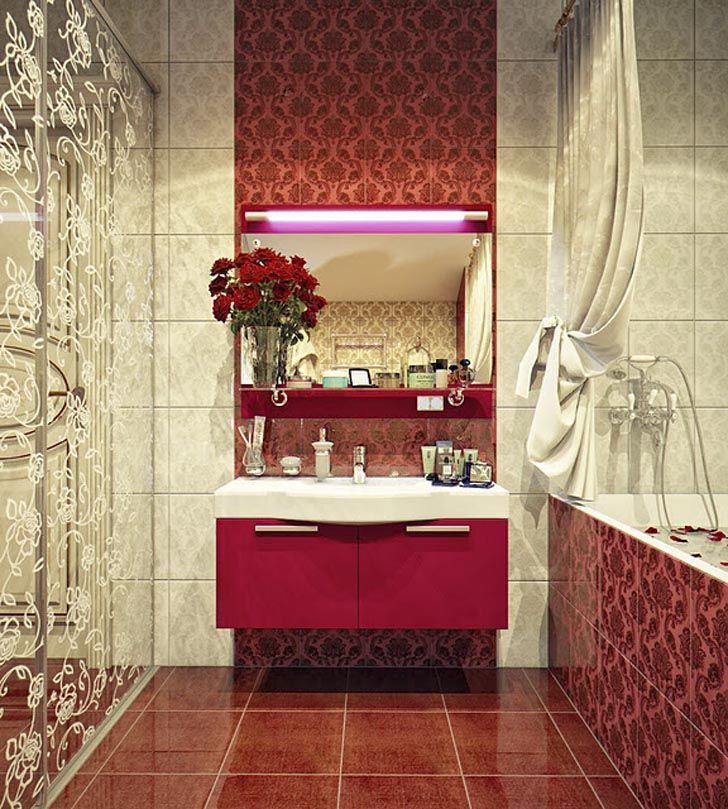 Modern Red Bathroom Sink On A Vintage Patterned Wall