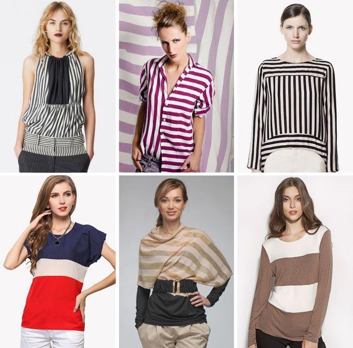 Комбинированные полосатые блузки на лето
