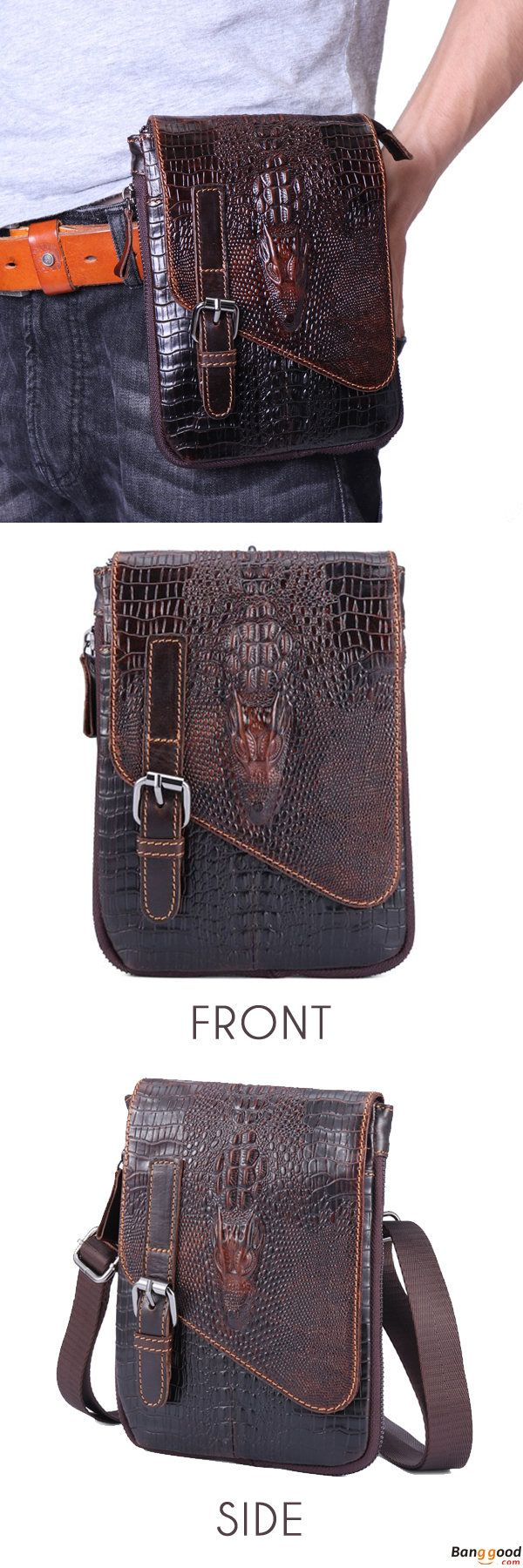 US$36.13 + Free Shipping. 6 inches Men Genuine Leather Waist Bag Alligator Pattern Minimalist Casual Phone Bag Crossbody Bag. Material: Genuine Leather. Hook, Strap or Belt.