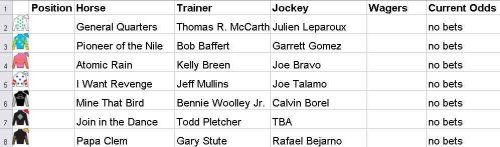 Betting pool spreadsheet for the Kentucky Derby 2015