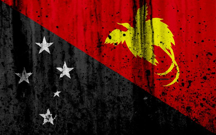 Download wallpapers Papua New Guinea flag, 4k, grunge, flag of Papua New Guinea, Oceania, Papua New Guinea, national symbols, Papua New Guinea national flag