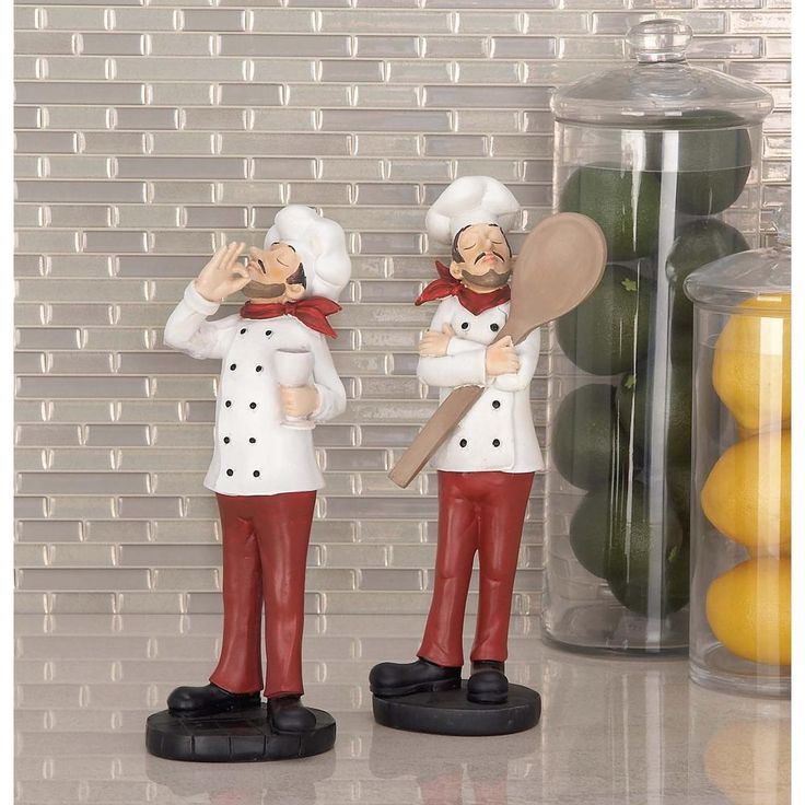 Master Chefs Set 12 in. Decorative Figures (Set of 2), White