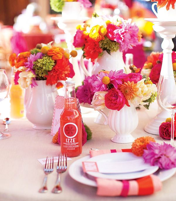 so many bright colorsIdeas, Orange Wedding, Tables Sets, Vases, Vibrant Colors, Wedding Theme, Parties Tables, Flower, Bright Colors