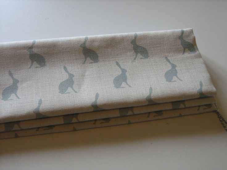 Tiny Roman blind in Peony & Sage Mini Hares in Duck Egg