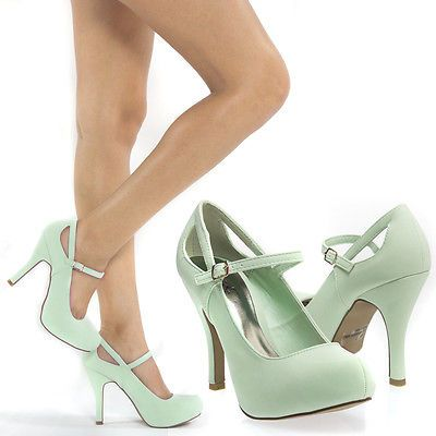 New Mint Green Mary Jane Cut Out Platform High Heel Stiletto Pump Shoe US 8 | eBay