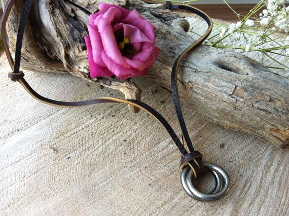Hippie boho leather necklace with metal rings