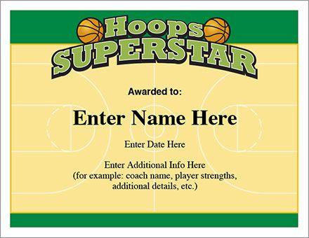 Hoops Superstar Certificate - The Basketball Award certificate - example of award certificate