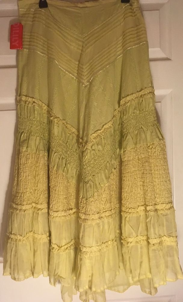 Anthropologie Oilily Yellow  Maxi Skirt Rare Beautiful Size: 42 Nwt  | eBay