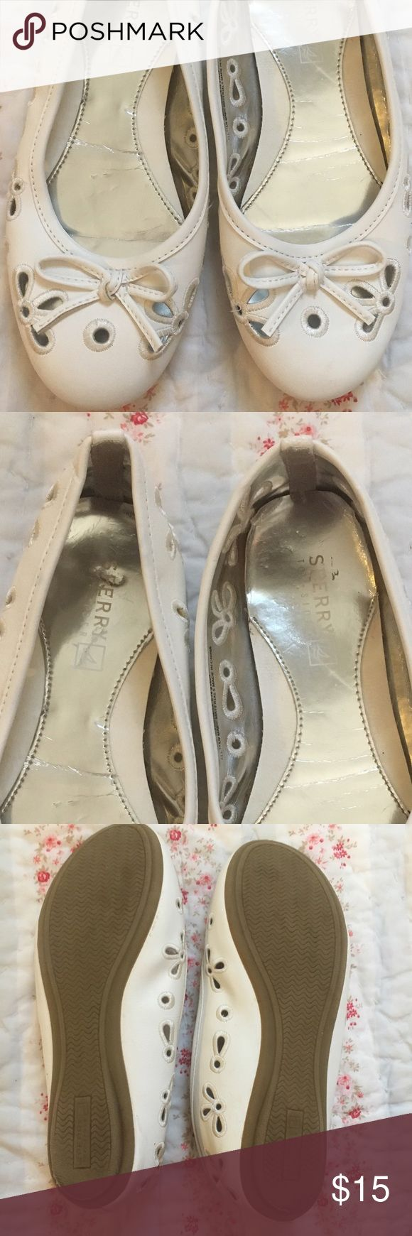 Girls white sperry flats Very cute for spring! Sperry Top-Sider Shoes