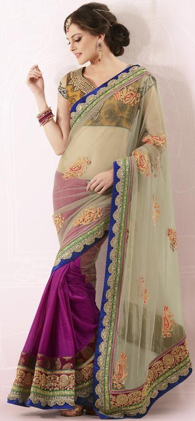 Beige Brown and Pink Embroidered Net Designer Saree