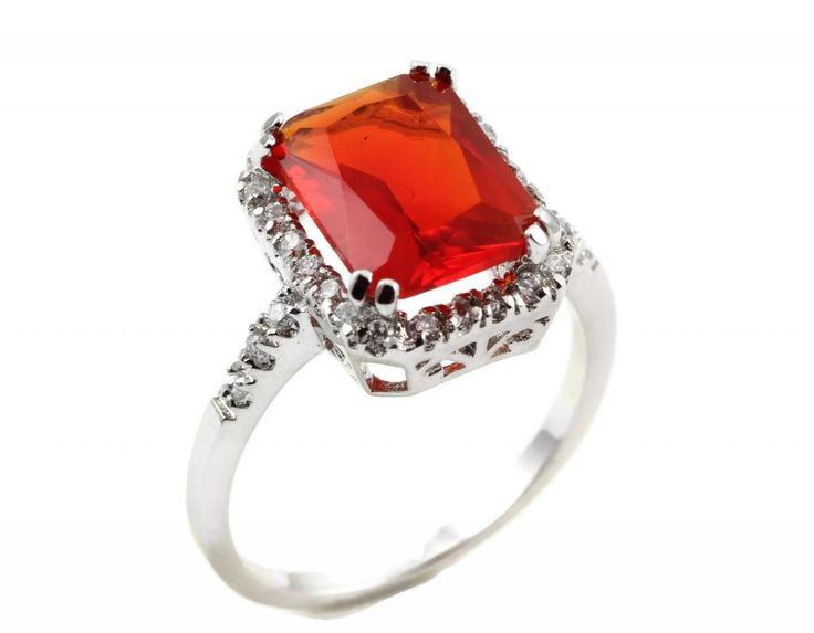 925 Sterling Silver Cocktail Ring 6.20 Carat Radiant Cut Ruby Red & Round Iced Out Russian Diamond CZ Stunning