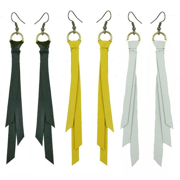 Circus's black Wanderlust Leather Tassel Earring. Available in yellow and white also #leethalfashion