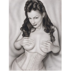 Miss Giovanni by Spider Tattoo Art Canvas Print. Adrian Castrejon is better known as Spider, and taught himself how to draw at a young age, spending hours a day practicing lifelike faces. Spider took to airbrushing at 20 and ran with it, doing work at quite a few car clubs in Orange County before deciding to take his art to yet another level by doing lifelike tattoos. Steve Soto hooked him up, and now he can be found doing custom tattoo work at Soto's shop, Goodfellas Tattoo