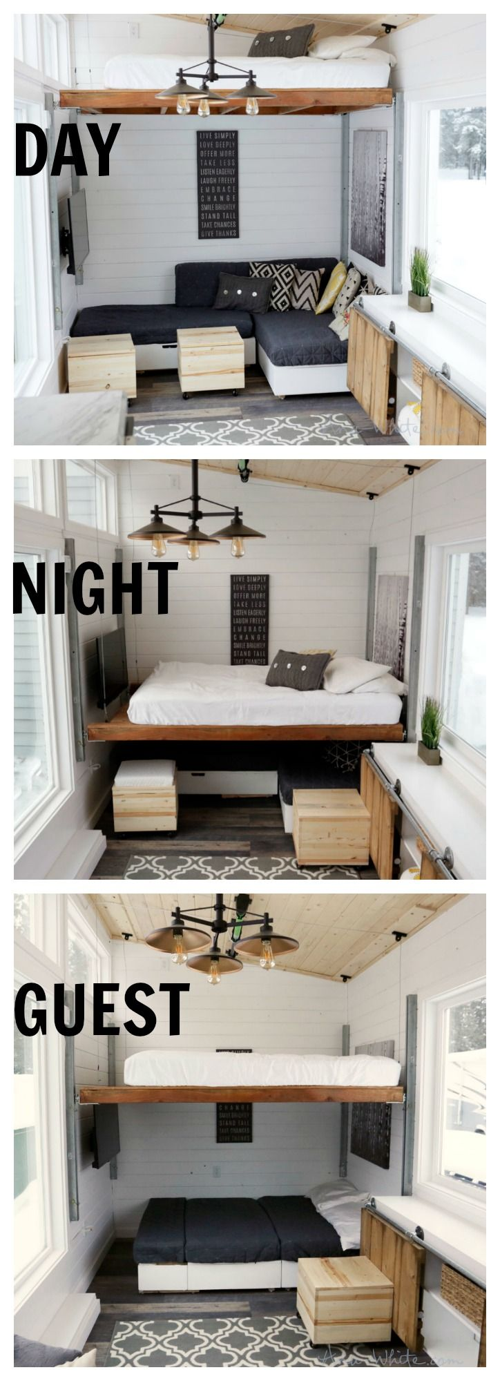 House design ideas - Open Concept Rustic Modern Tiny House Photo Tour And Sources Ana White Woodworking Projects