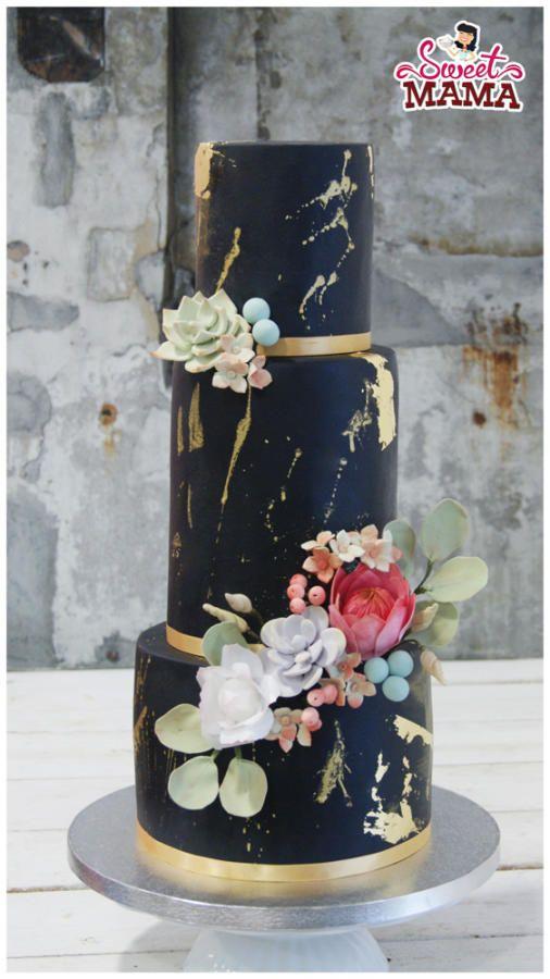 Black & Gold Wedding Cake by Soraya Sweetmama - http://cakesdecor.com/cakes/291024-black-gold-wedding-cake