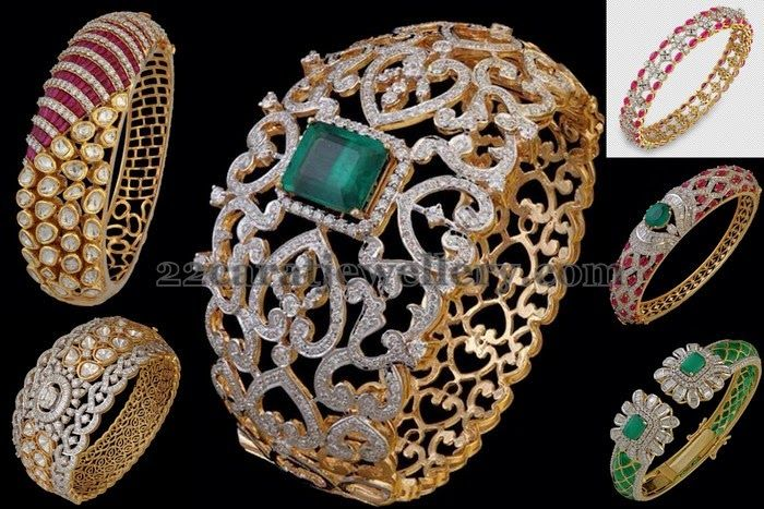 Jewellery Designs: Broad Diamond Kada and Bracelets